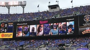 Baltimore Ravens Face Paint augmented reality app on display